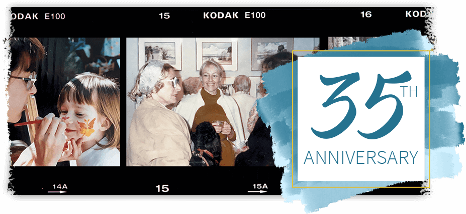 Film Strip showing old photos and text: 35th anniversary
