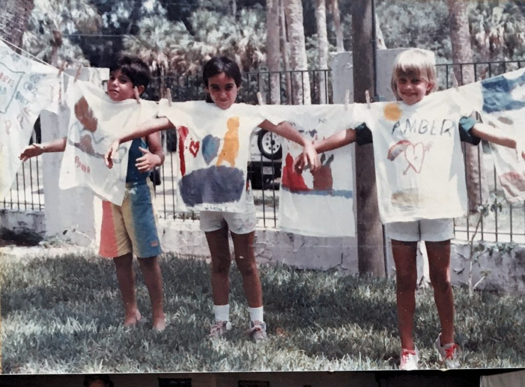 1987-1988 - children holding up painted t-shirts