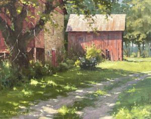 painting of a barn by Bill Farnsworth