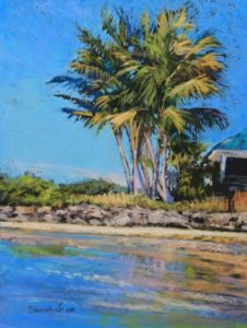 ocean and palm trees landscape in pastel by Dianna Shandorf