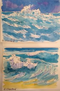 watercolor paintings of waves by Gail Cleveland